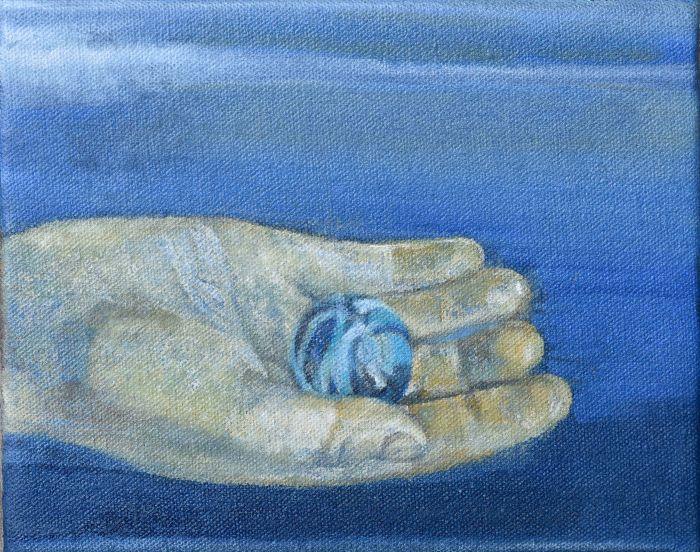 il-main-bleue-bille_huile-sur-toile_14x18-cm_2018-621079d8f6661ee7c17d3a7d3481012c